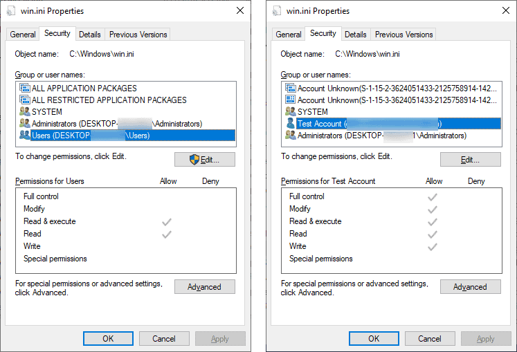 User permissions and after the PoC is executed