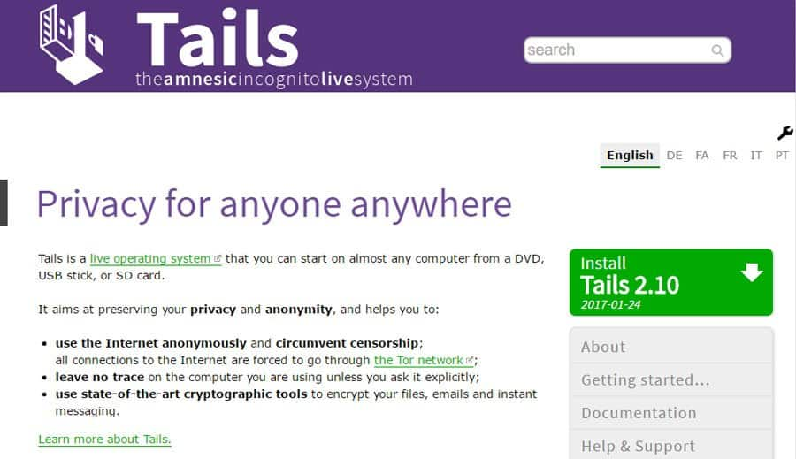 tails dark web browsers