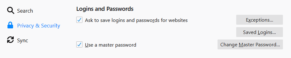 Firefox logins and passwords