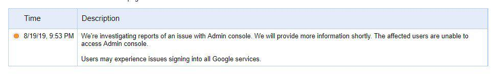 Google Admin console issues
